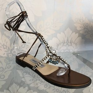JIMMY CHOO Bronze Leather Strappy Flat Sandals